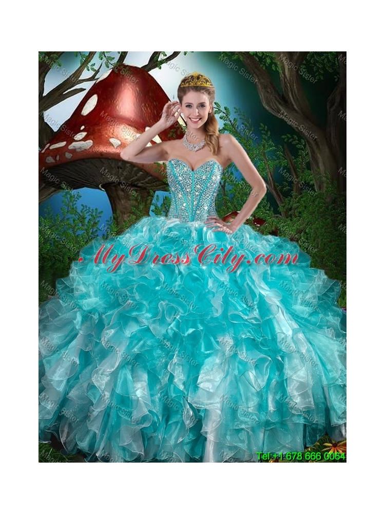 2016 Summer Popular Quinceanera Dresses with Beading and Ruffles