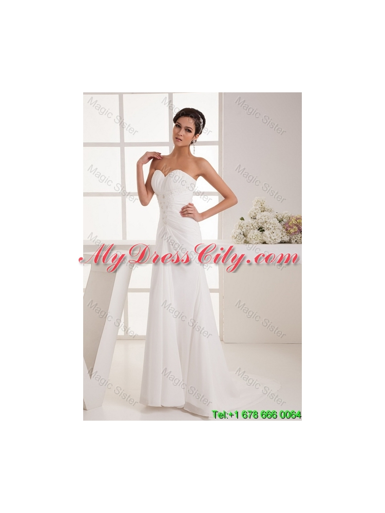 Remarkable beading white wedding dress with court train for Average wedding dress cost 2016