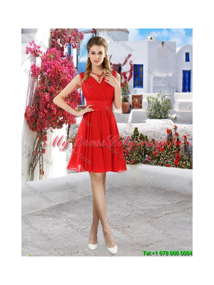 Simple Ruched Red V Neck Prom Dresses with Belt