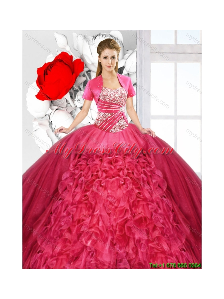 Red 2016 Fashionable Detachable Sweet 16 Dresses With
