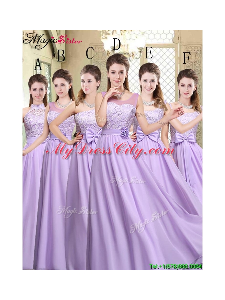 2016 Spring High Neck Lace Lavender Bridesmaid Dresses - MyDressCity.com