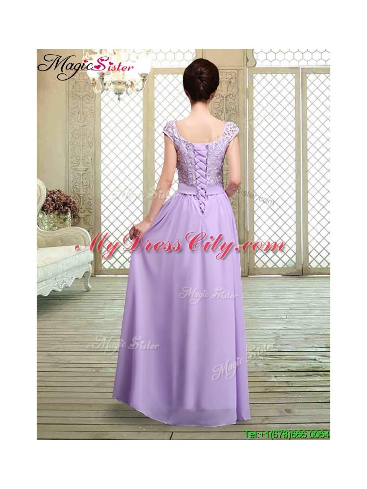 Square Cap Sleeves Lavender Bridesmaid Dresses with Belt MDCBMT066FLavender Bridesmaid Dresses With Sleeves