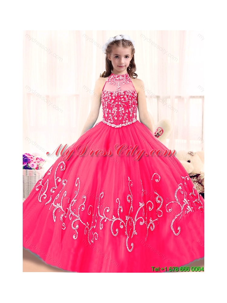 Lovely High Neck Mini Girls Party Dresses in Hot Pink - MyDressCity.com