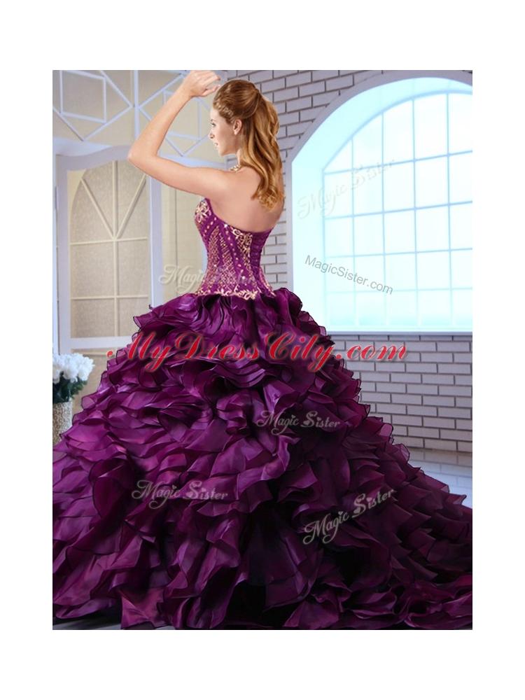 Wonderful Brush Train Dark Purple Sweet 16 Dresses With