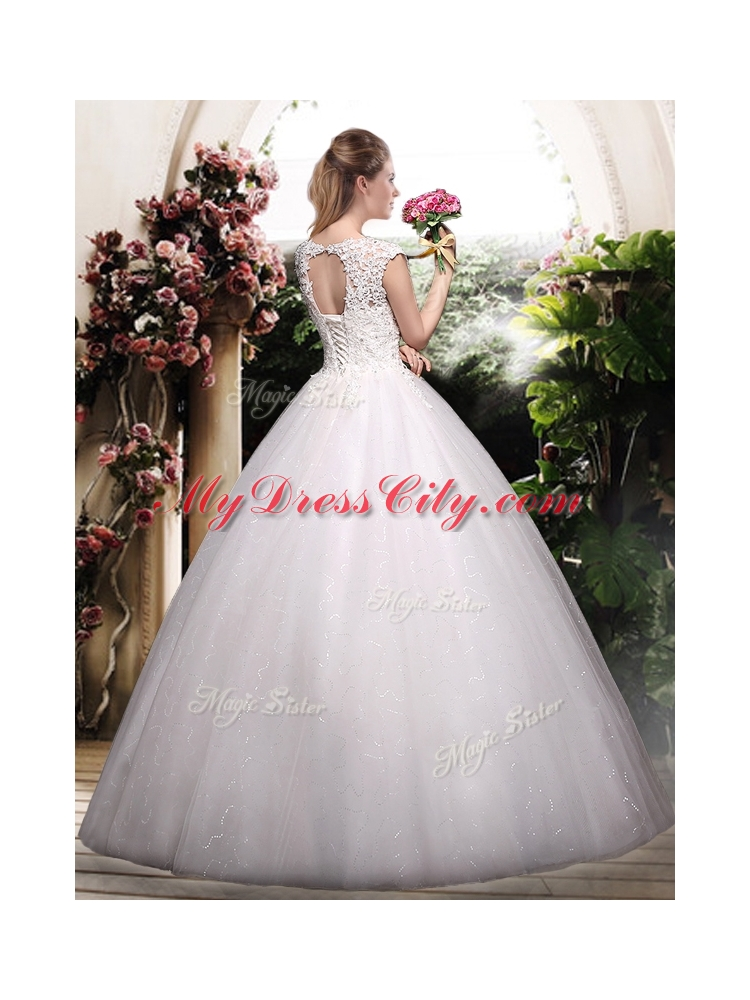 2016 romantic ball gown scoop wedding dresses with for Average wedding dress cost 2016