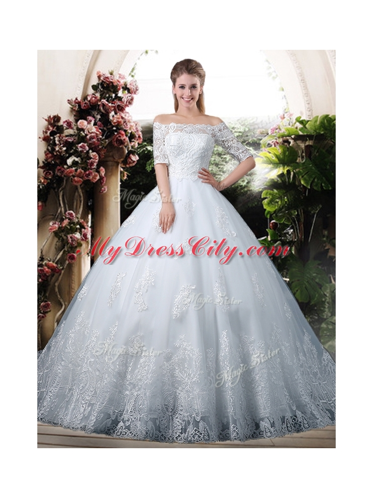 Elegant Ball Gown Off the Shoulder Lace Chapel Train Wedding Dresses ...