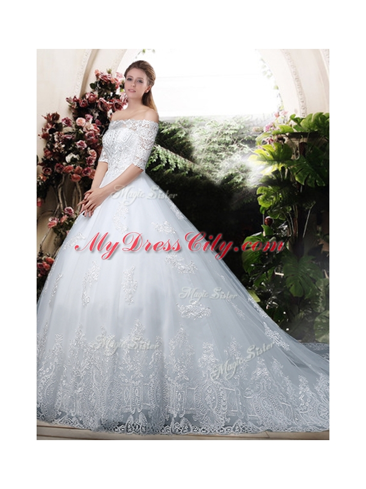 Elegant Ball Gown Off the Shoulder Lace Chapel Train Wedding Dresses ...