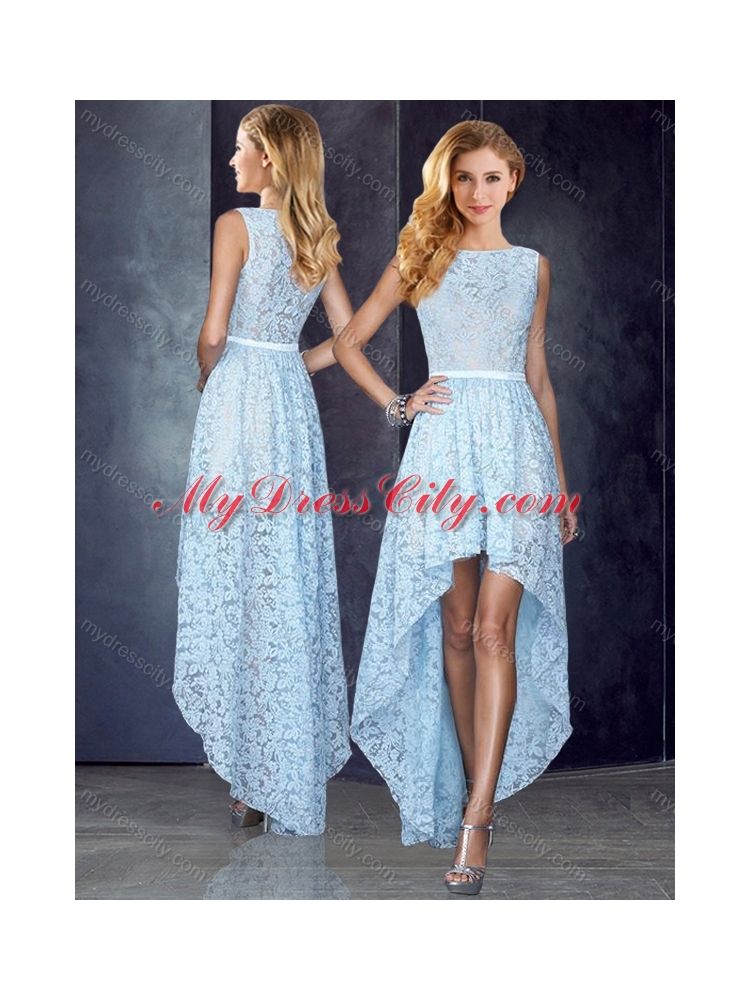 2016 Bateau High Low Light Blue Prom Dress in Lace - MyDressCity.com 8919d4338