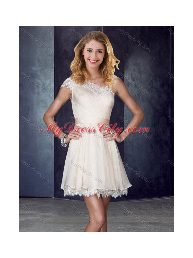 champagne lace one shoulder bridesmaid dress
