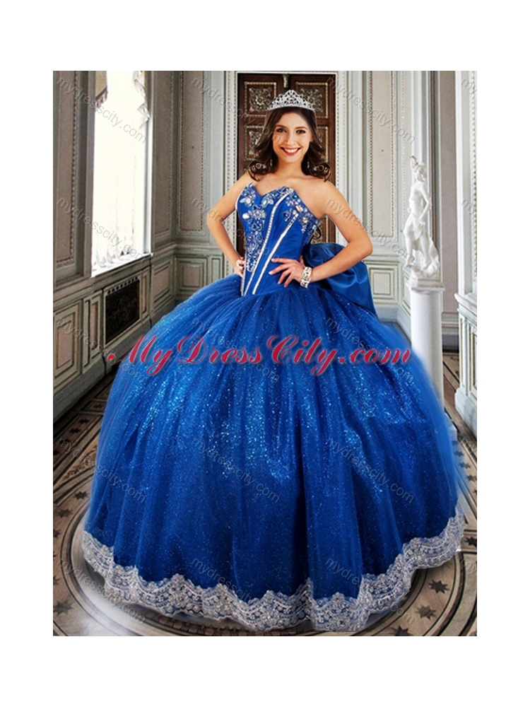 Ball Gown Beaded Royal Blue Sweet 16 Dress with Appliques and Bowknot