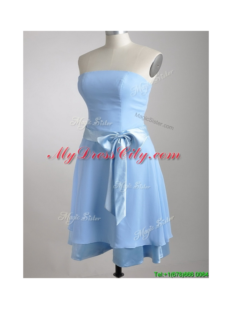 New Style Bowknot Chiffon Short Dama Dress in Light Blue