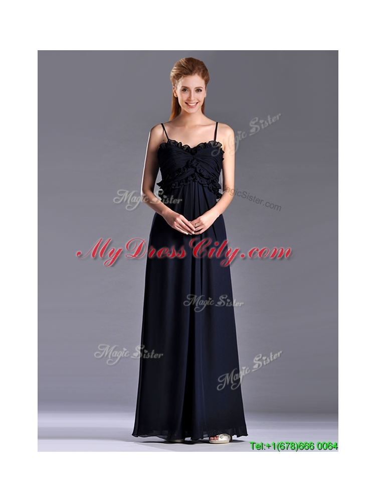 Simple Empire Straps Chiffon Ruching Navy Blue Dama Dress for Holiday