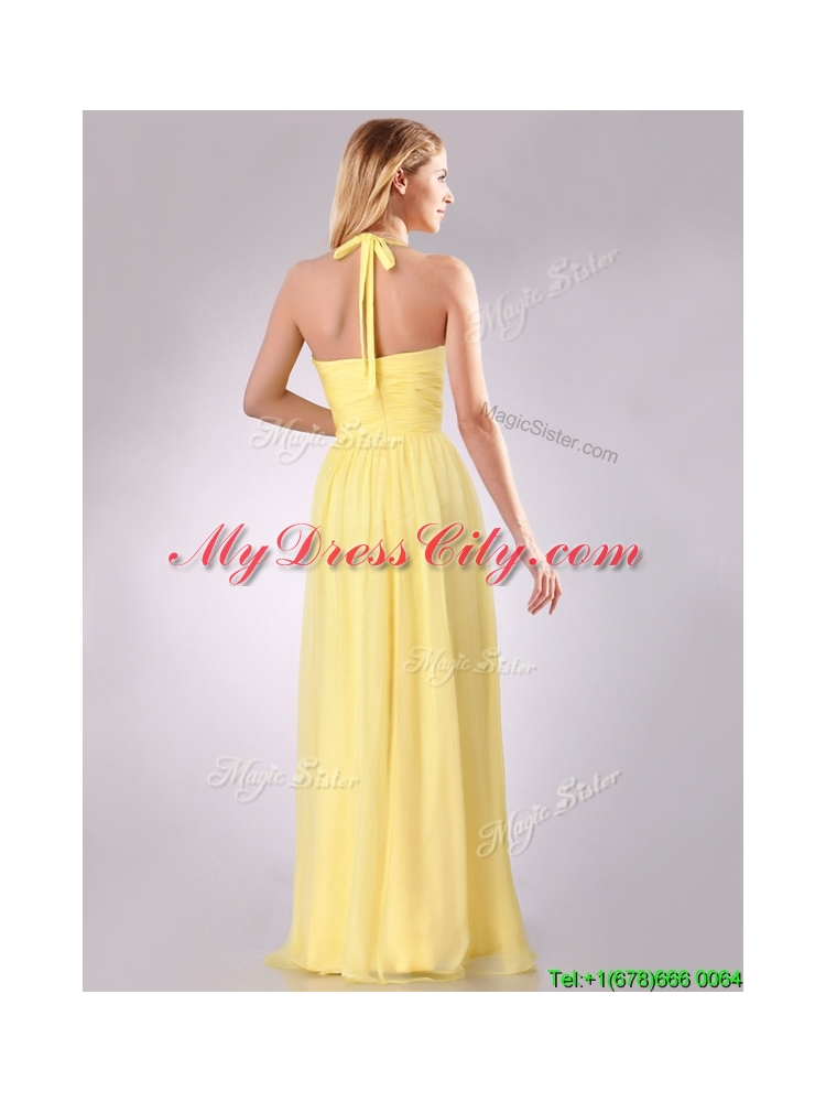 New Bridesmaid Lovely Halter Top Chiffon Ruched Long Bridesmaid Dress in Yellow