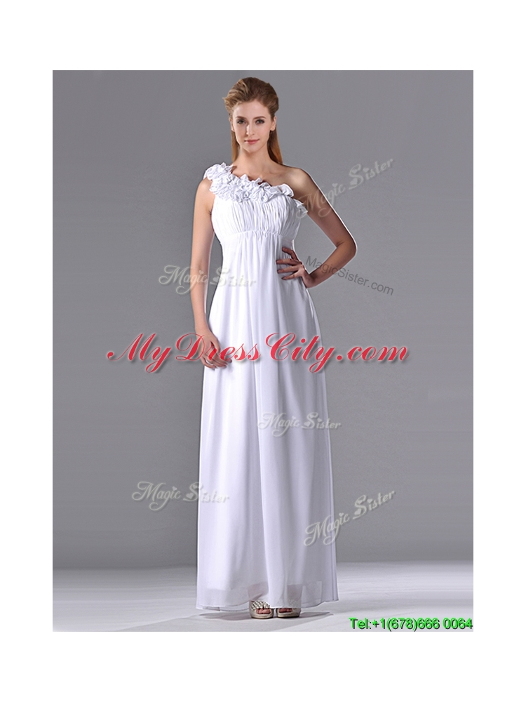 New Elegant Empire Hand Crafted Side Zipper White Bridesmaid Dress with One Shoulder