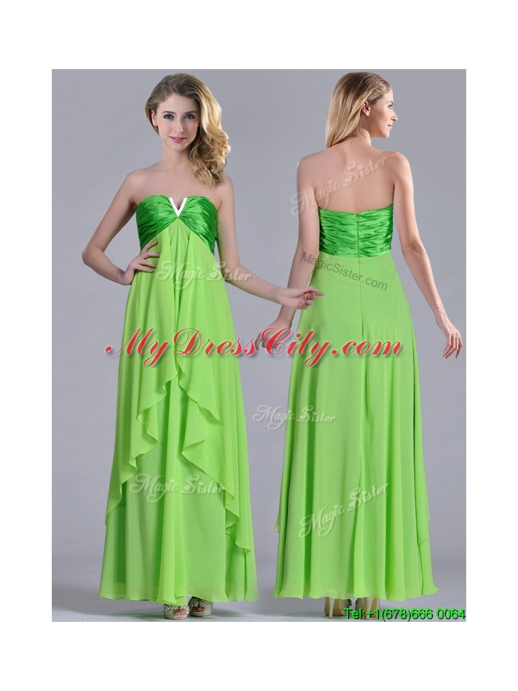 New Pretty Beaded Decorated V Neck Spring Green Bridesmaid Dress in Ankle Length