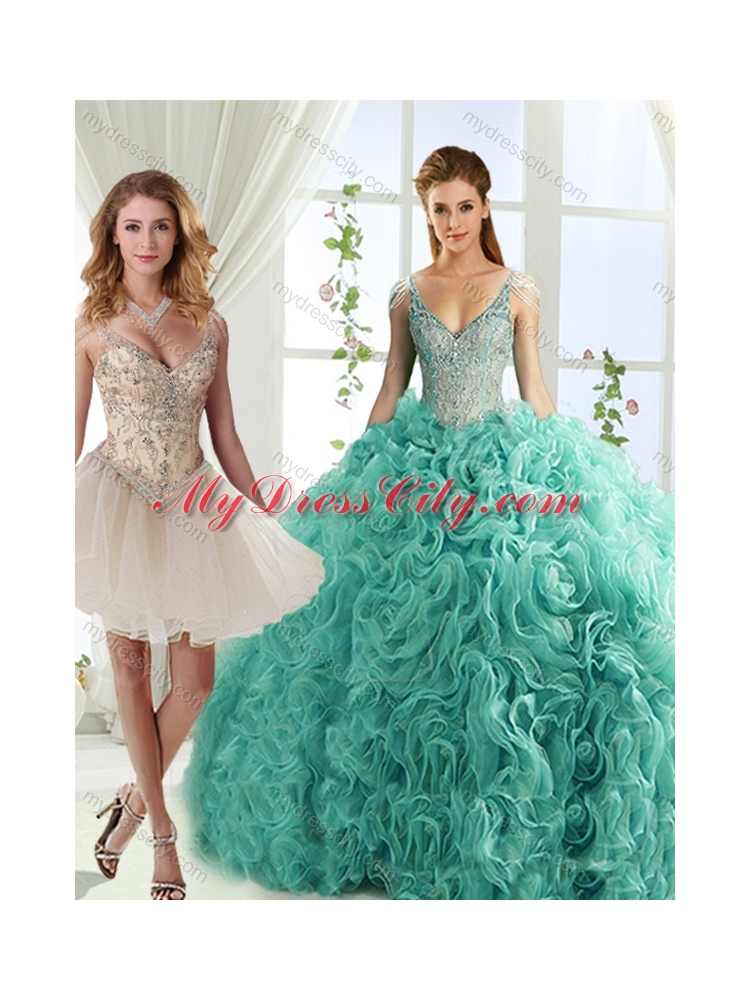 Gorgeous Rolling Flowers Deep V Neck Detachable Quinceanera Skirts with Cap Sleeves