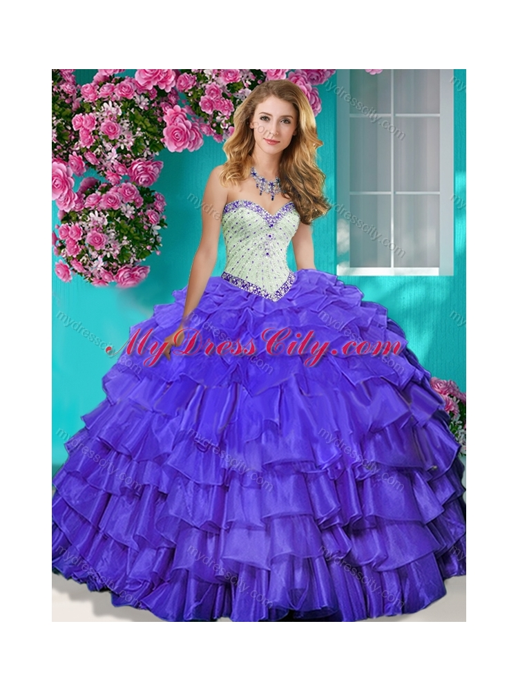 Lovely Beaded and Ruffled Layers Quinceanera Dress with Brush Train