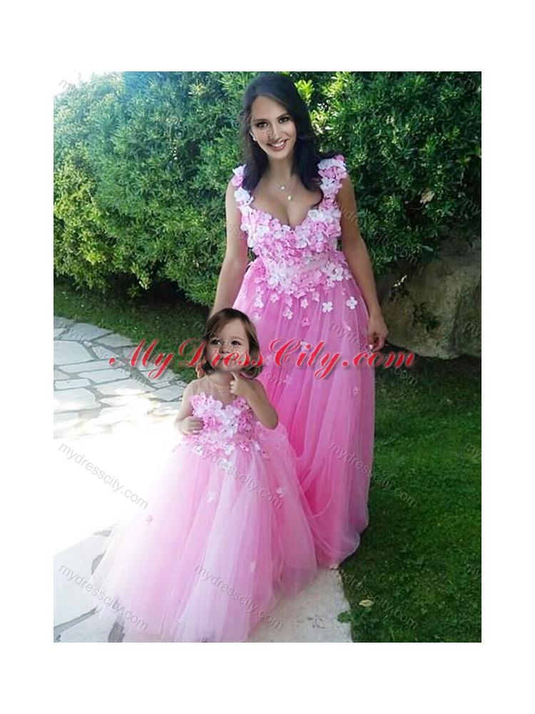 Designer Deep V Neckline Prom Dress with Appliques and Hot Sale Rose ...
