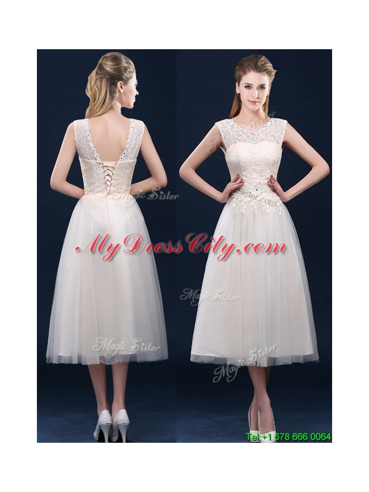 2016 fashionable tea length scoop bridesmaid dress with for Average wedding dress cost 2016