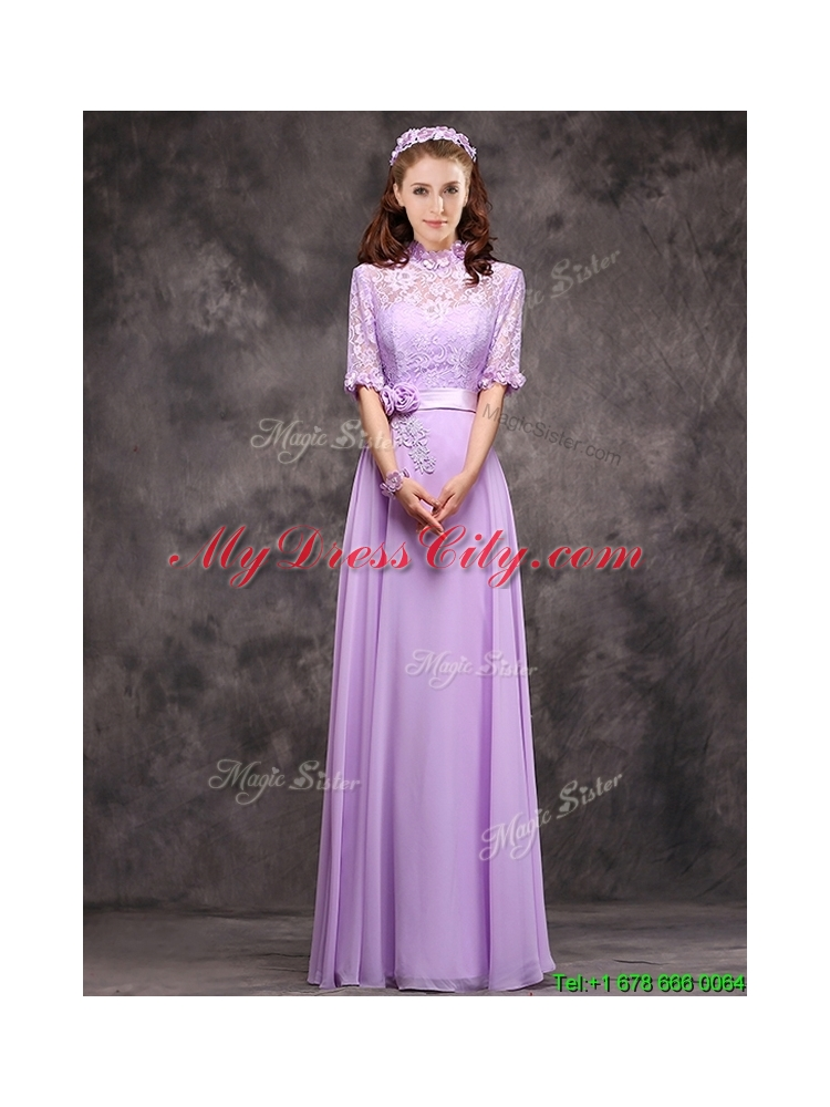 Perfect High Neck Handcrafted Flowers Bridesmaid Dress with Half Sleeves