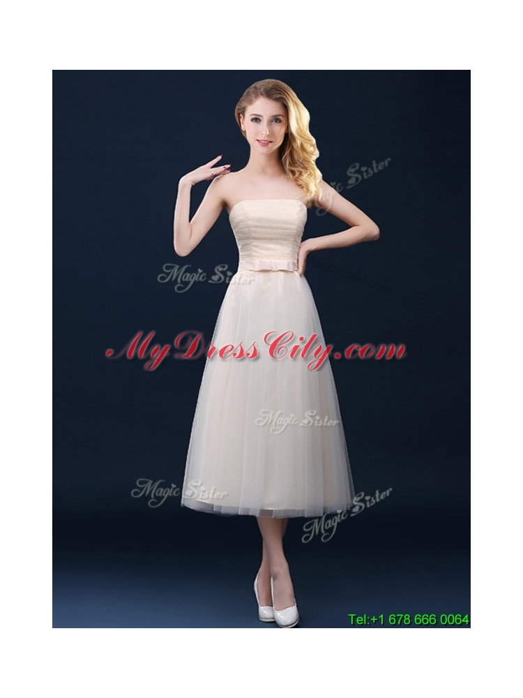 2016 low price strapless belt champagne long prom dress in for Average wedding dress cost 2016