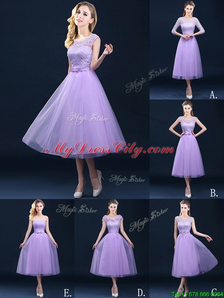 Latest Half Sleeves Tea Length Laced Mother Dress in Lavender ...