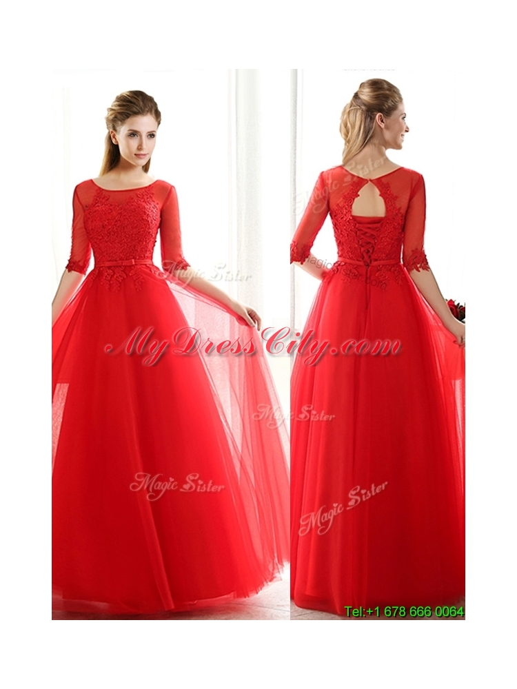 See Through Scoop Half Sleeves Red Prom Dress with Lace and Belt ...