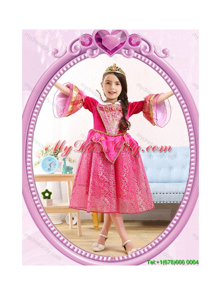 Halloween Popular Hot Pink Little Girl Pageant Dress with Sequins