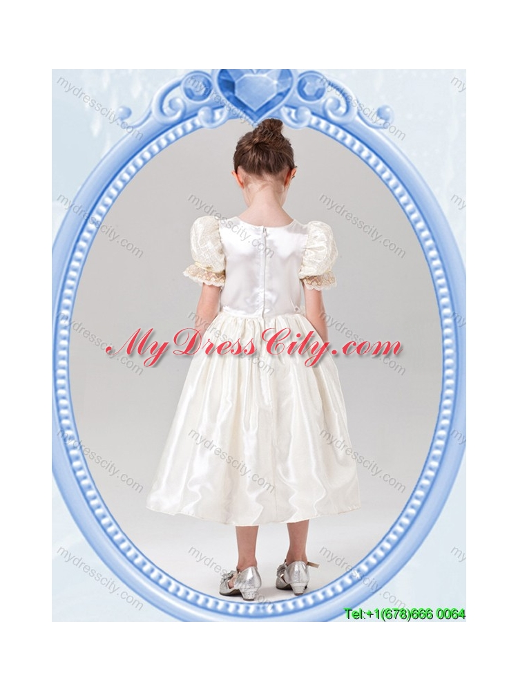 Puffy Scoop Halloween Tea-length Short Sleeves Little Girl Pageant Dress in White