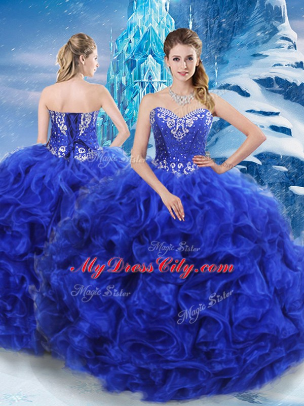 Romantic Royal Blue Lace Up Sweetheart Beading Quinceanera Gowns Organza Sleeveless