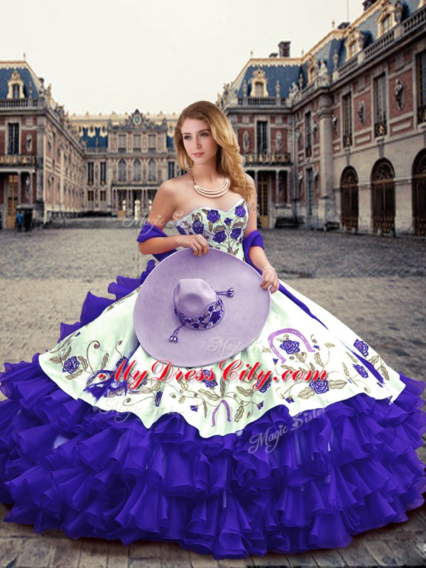 Sweetheart Sleeveless Lace Up Quinceanera Dresses Purple Organza