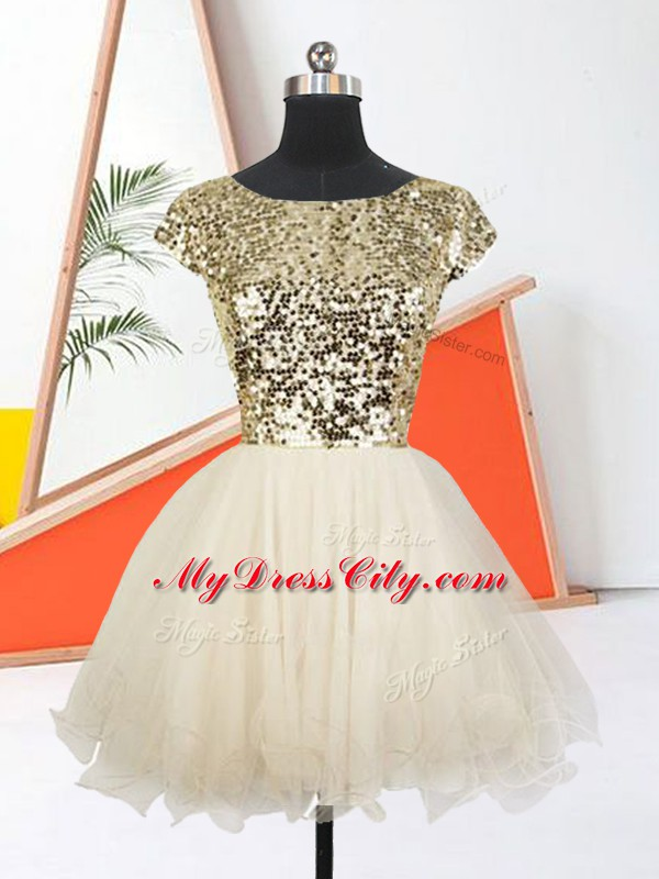 A-line Evening Dress Champagne Scoop Organza Short Sleeves Mini Length Lace Up