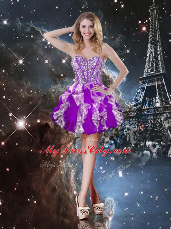 Captivating Sleeveless Lace Up Floor Length Beading and Ruffles Sweet 16 Quinceanera Dress