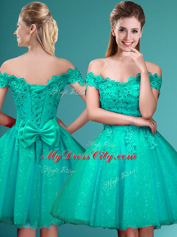 Custom Design Turquoise Cap Sleeves Knee Length Lace and Belt Lace Up Wedding Guest Dresses