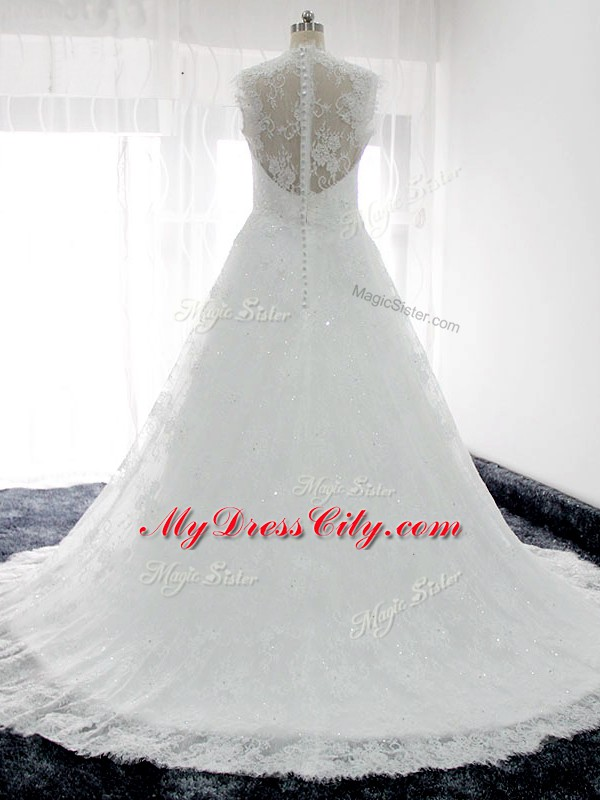 Adorable Straps Sleeveless Lace Bridal Gown Beading and Lace Brush Train Clasp Handle