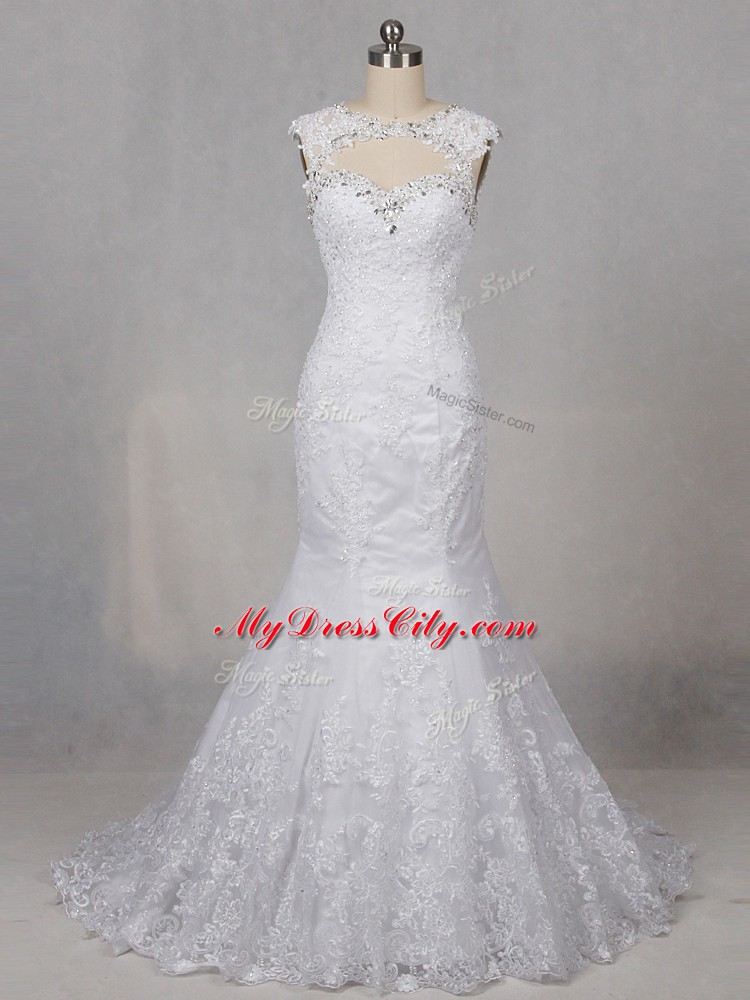 Eye-catching White Wedding Dresses Wedding Party with Beading and Lace Scoop Sleeveless Brush Train Backless