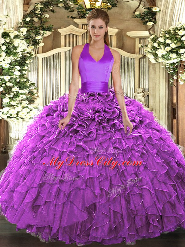 Ruffles Ball Gown Prom Dress Fuchsia Lace Up Sleeveless Floor Length