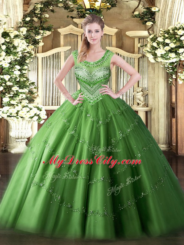 Delicate Green Sleeveless Tulle Lace Up Quinceanera Gown for Sweet 16 and Quinceanera