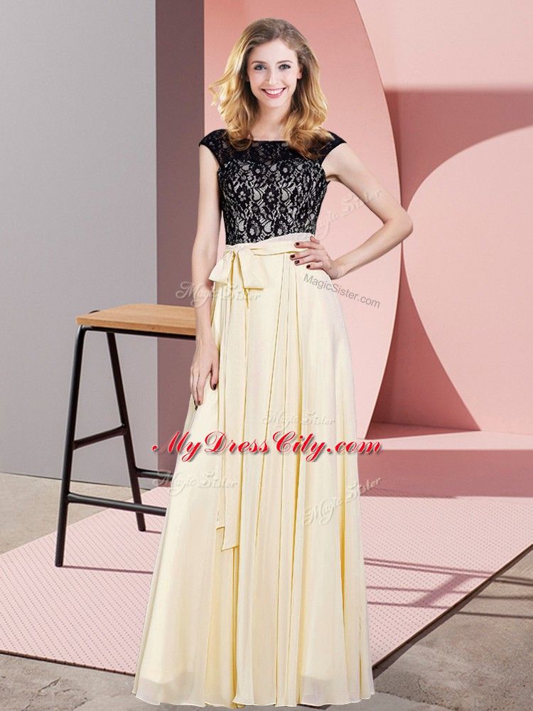 Flare Champagne Sleeveless Lace and Belt Floor Length Homecoming Dress