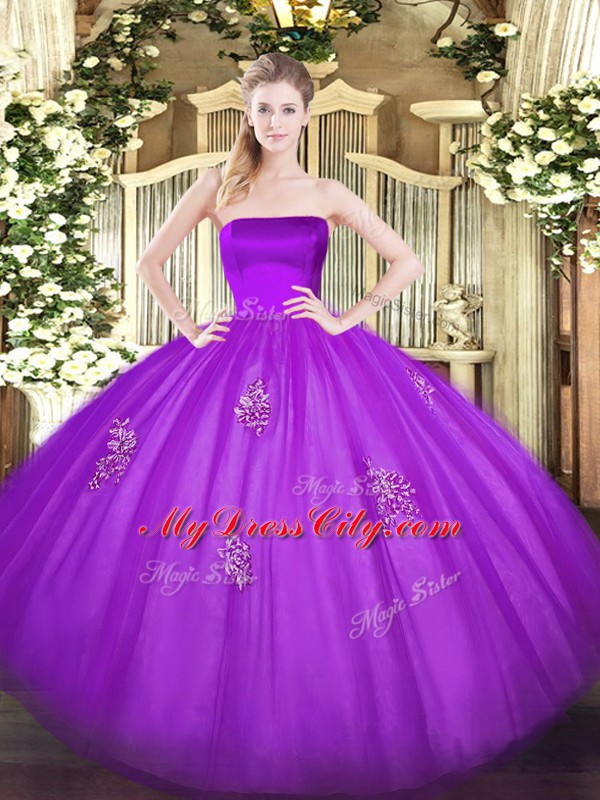 Sexy Tulle Strapless Sleeveless Zipper Appliques 15th Birthday Dress in Eggplant Purple