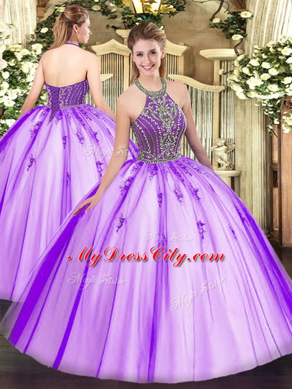 Floor Length Eggplant Purple Sweet 16 Dress Halter Top Sleeveless Lace Up