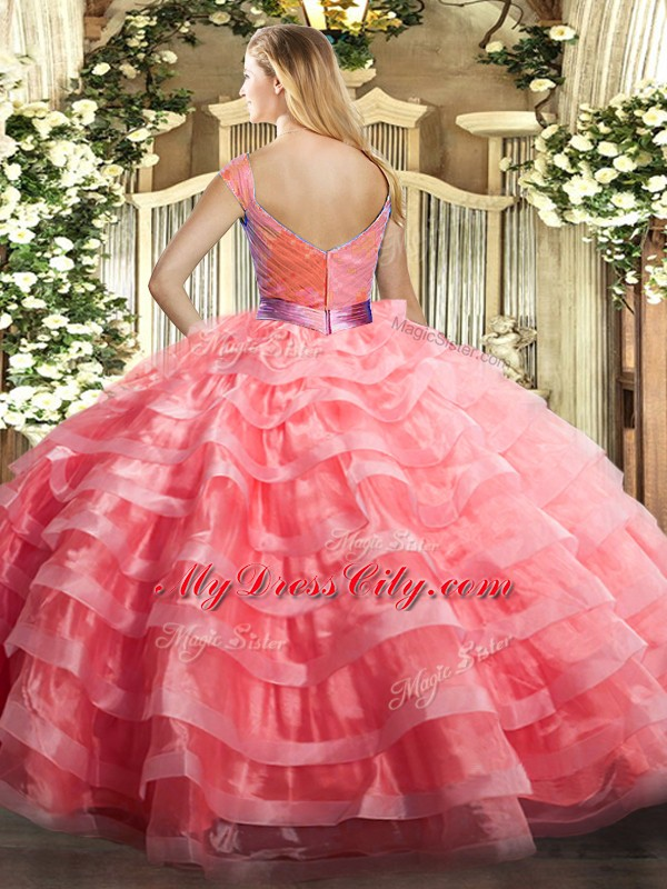 Organza V-neck Sleeveless Zipper Ruffled Layers Vestidos de Quinceanera in Lilac
