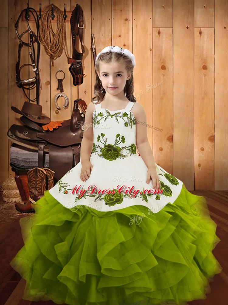 Olive Green Ball Gowns Straps Sleeveless Tulle Floor Length Lace Up Embroidery and Ruffles Pageant Dress for Teens