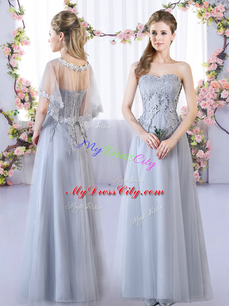Sweet V-neck Sleeveless Bridesmaid Dresses Floor Length Appliques Grey Tulle