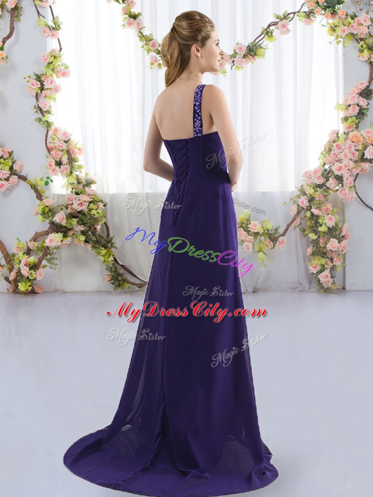 Purple Empire Beading Wedding Party Dress Lace Up Chiffon Sleeveless