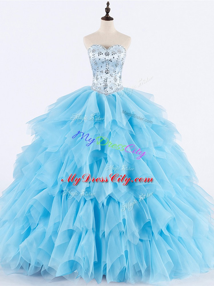 Attractive Sleeveless Tulle Floor Length Lace Up Sweet 16 Quinceanera Dress in Baby Blue with Beading and Ruffles