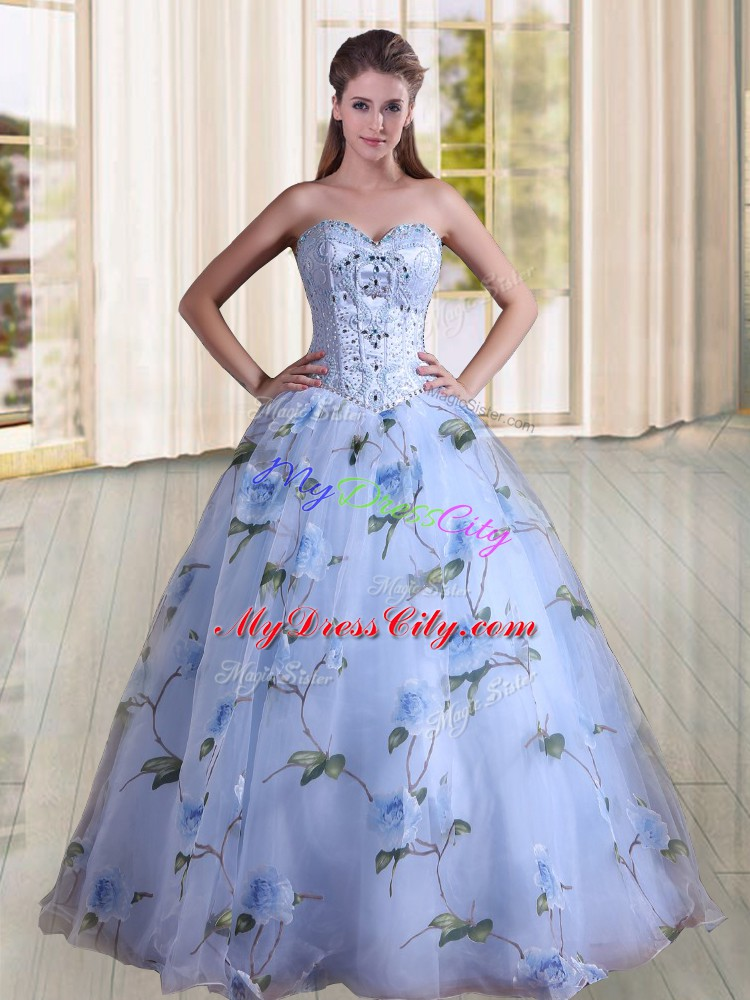 Sweetheart Sleeveless Printed Quince Ball Gowns Beading Lace Up