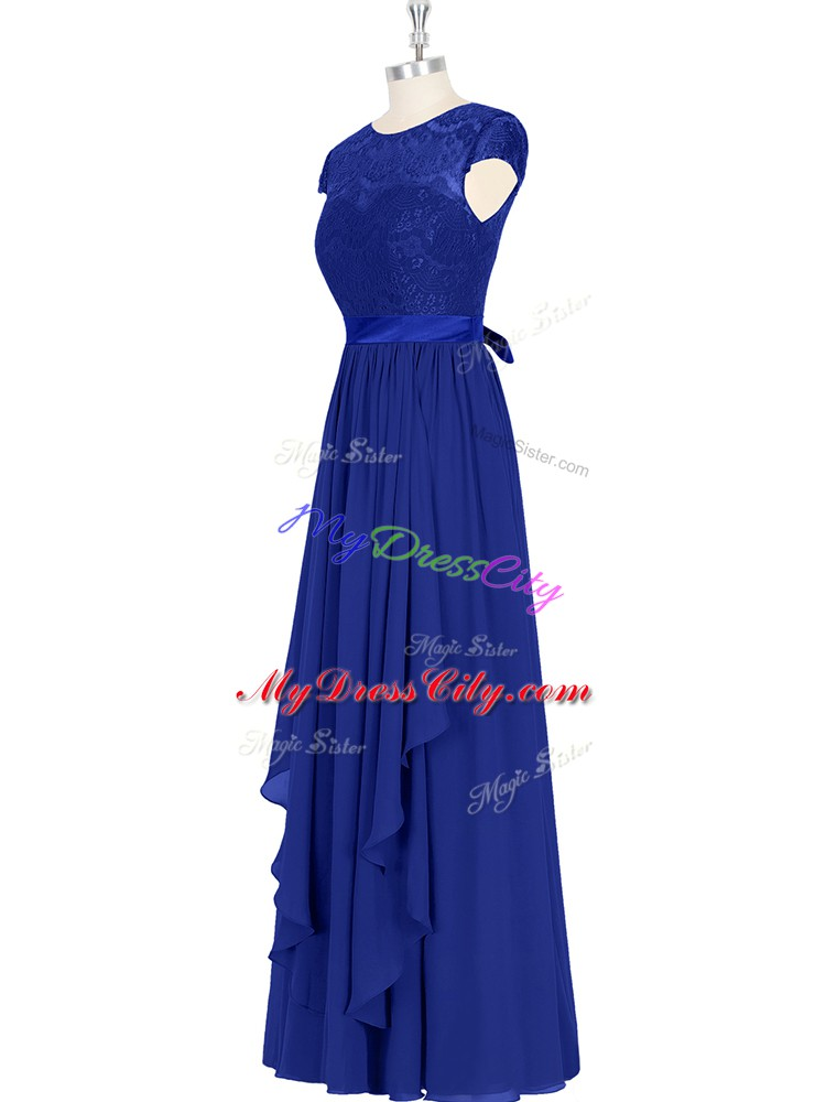 Sophisticated Floor Length Royal Blue Prom Gown Scoop Cap Sleeves Zipper