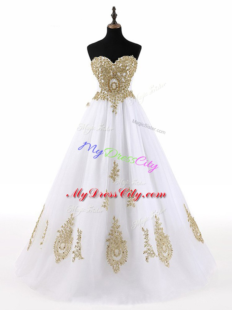 White Lace Up Sweet 16 Dresses Beading and Appliques Sleeveless Floor Length