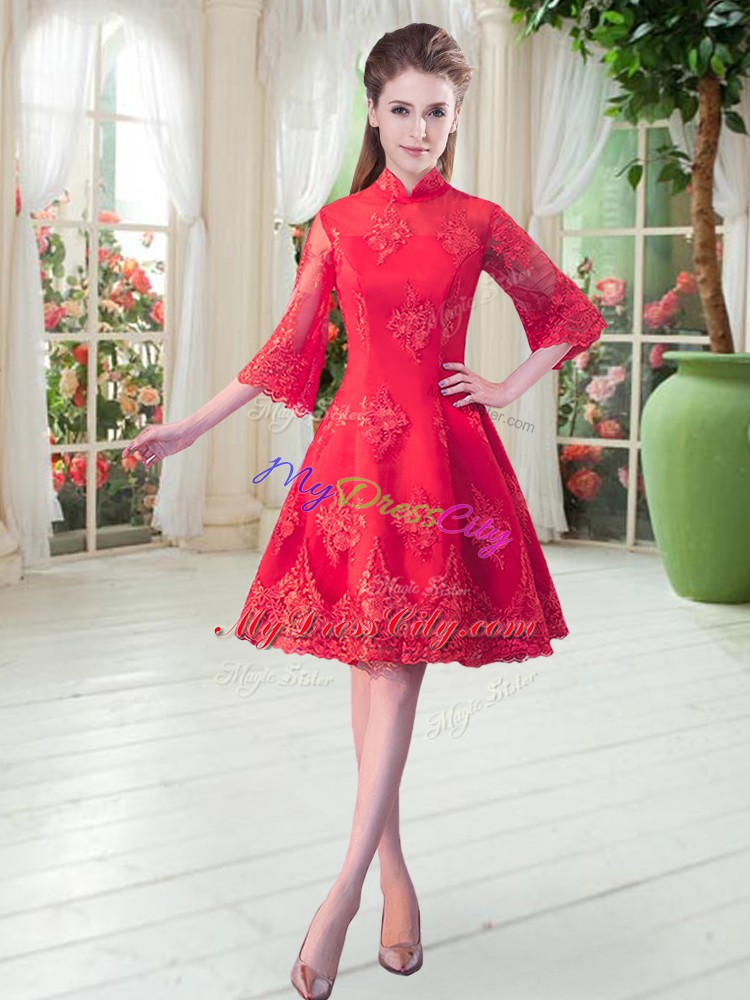 Sophisticated Red High-neck Neckline Lace Evening Dress 3 4 Length Sleeve Zipper